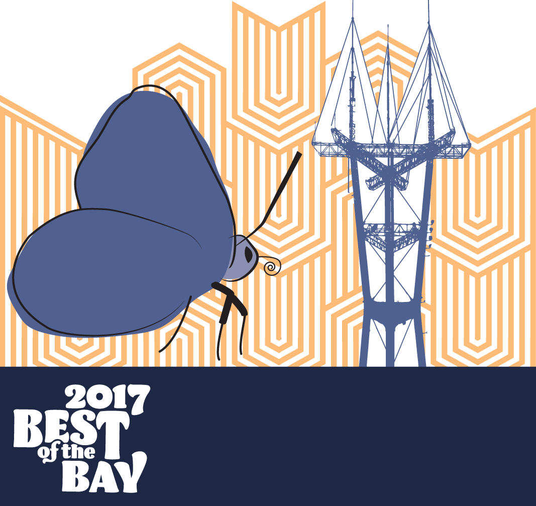 san francisco bay guardian best of the bay 2017 arts and entertainment | sutro tower and butterfly