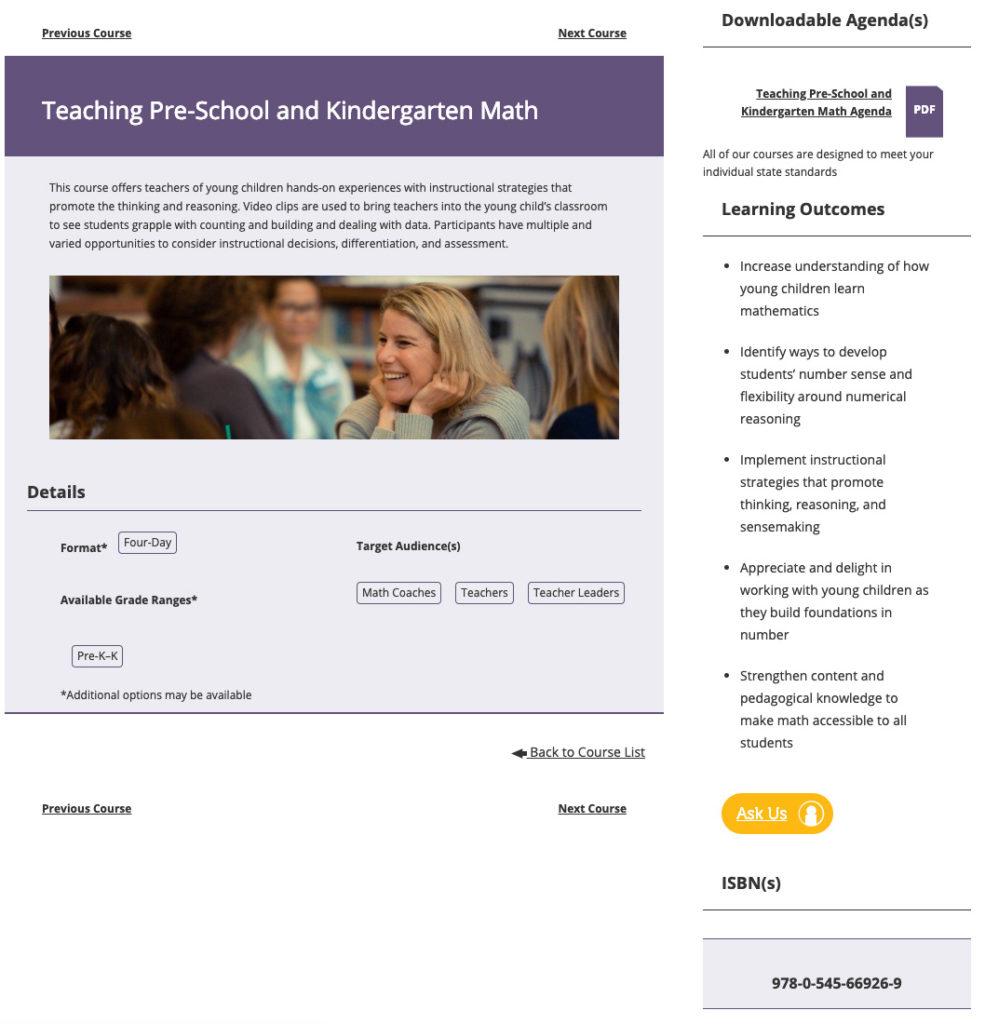 single course info