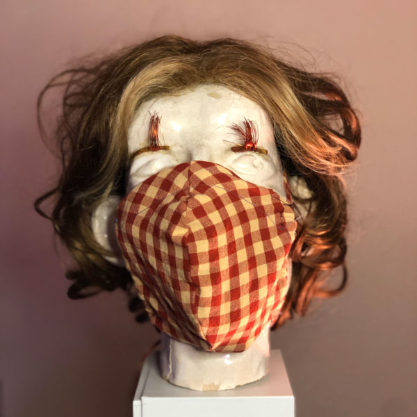 large mask with picnic tablecloth pattern